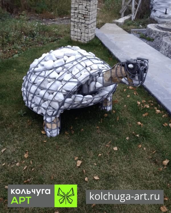 Фото черепаха для сада из камня и металла