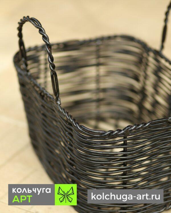 Корзина из металла чёрная от производителя Кольчуга АРТ
